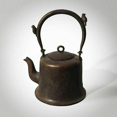"4.92""H Rare Chinese Teapot Bronze Teapot Story Figure Hand-Carved Teakettle"