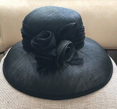 Occasion Black Hat with flower applique by Da-Me, Italy