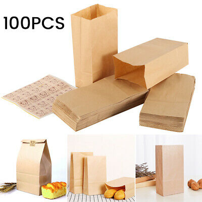 100 x Brown Kraft strong Paper Bags for Sandwiches Food Gift Shop With Sticker