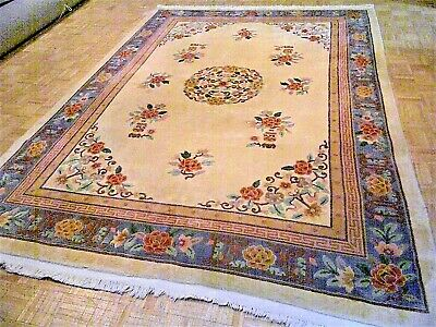 8x11 CHINESE RUG VINTAGE PEKING NICHOLS AUTHENTIC HAND-MADE ORIENTAL RUG 1960s