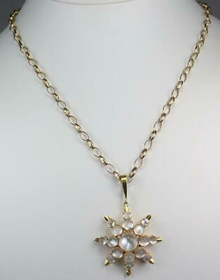 Lovely Antique Victorian 18K Gold Moonstone Cabochon Starburst Pendant Necklace