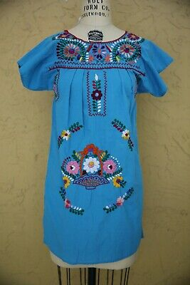 Vtg 80s 90s Oaxacan Mexican Dress Tunic Embroidered Floral Boho Blue Multi Color