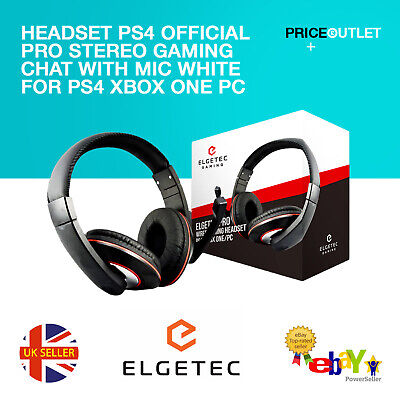 Official PRO Stereo Gaming Chat Headset with Mic White for PS4 Xbox one PC