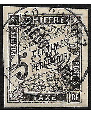DIEGO SUAREZ surchaged stamp 1892 Postage due 5 c. black imp. YT. Tx7 used -F721