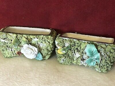 Pair of Flower Encrusted Antique Open Salts With Textured Green Fauna