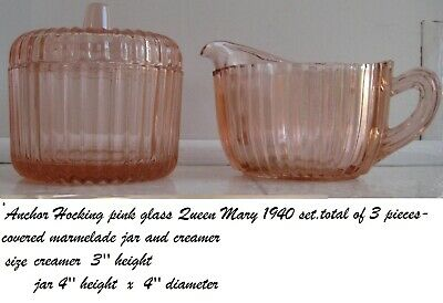 anchor hocking pink queen mary service set
