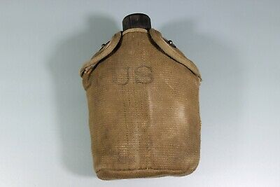 US WW1 Canteen W/ WW2 Variant Cover Unusual Fabric US Marked Belt Hook Dot Snaps
