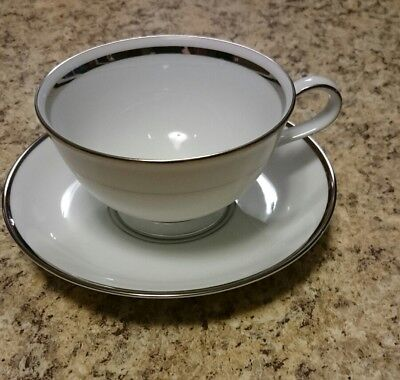 Princess House Heritage White With Silver Trimmed Teacup And Saucer