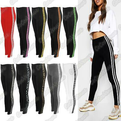 00c47570c3550 Ladies Contrast 2 Side Stripe Leggings Gym Stretchy Skinny Fitness Pants  Trouser