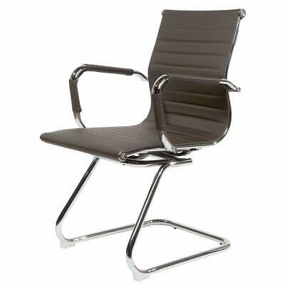 CosmoLiving Brown Cantilever Office Boardroom Desk Chair Chrome Frame PU Leather