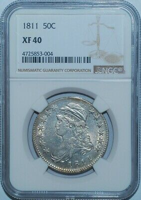"""1811 NGC XF40 Small 8 O-108 R.2 """"Frowny Face"""" Capped Bust Half Dollar"""
