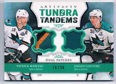 2013-14 Artifacts Tundra 2 Tandems Patch Patrick Marleau Logan Couture Patch 4