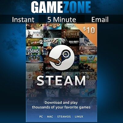 $10 Steam Gift Card - 10 USD US Dollar Prepaid Steam Wallet Game Card Code - USA