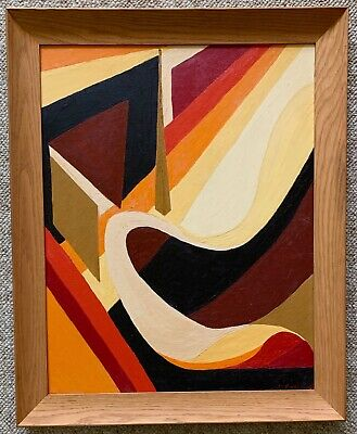 Vintage 60s Abstract Acrylic Painting Modern Art Wall Hanging Mid Century Signed