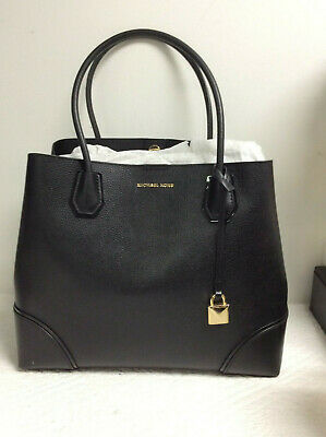 e11a7265d655 Michael Kors Mercer Corner Large Center Zip Leather Tote BLACK 30H7GZ5T7A  NWT