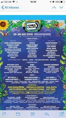 X2 adult Kendal Calling weekend and Emperors Field Ticket 2019 (includes Thurs)