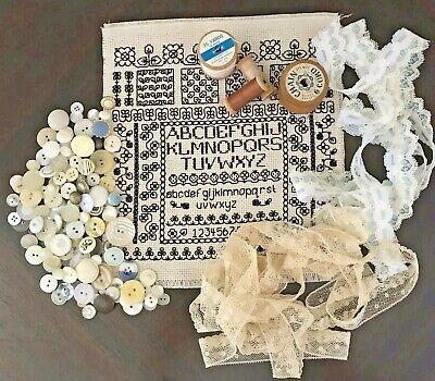 Vintage Sewing Items Embroidery Sampler Cotton Reels Buttons Lace