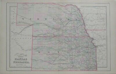 Original 1887 Bradley Railroad Map KANSAS NEBRASKA Dodge City Fort Kearny Sioux