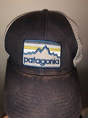 ec3327529afdc Patagonia Hat Spellout Mesh Trucker Snapback Cap Faded Distressed Work Vtg