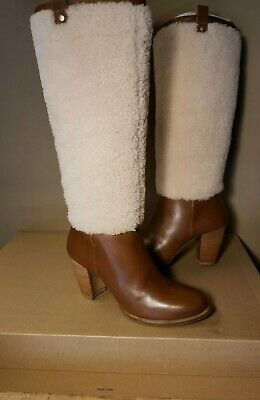d96629796c1 UGG CHESTNUT TALL Ava Exposed Fur Leather High Heel Boots, Us 8/ Eur ...