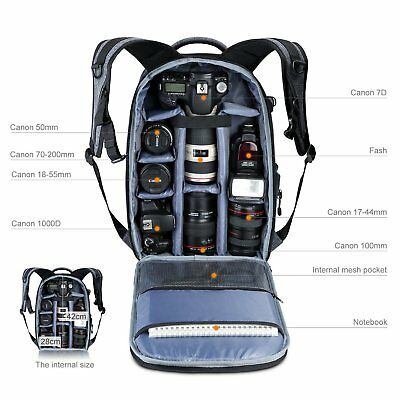 Large Camera Photo Backpack Bag w/ Tripod Holder Rain Cover r DSLR Canon Sony