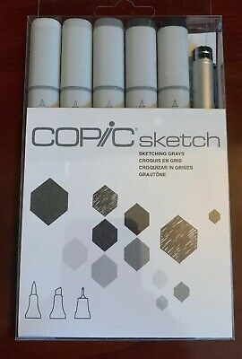 Copic Markers 6-Piece Sketch Set, Sketching Grays ~ New ~