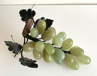 Old Chinese Carved Jade Stone Grape Cluster Bunch Fruit with Jade Leaves