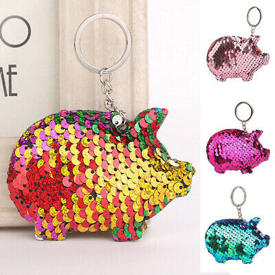 Pendant Holder Pig Key Ring Glitter Sequins Keychain Car Bag Accessories