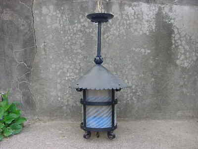 Antique Wrought Iron Arts And Crafts Hanging Light Fixture W/ Opalescent Shade