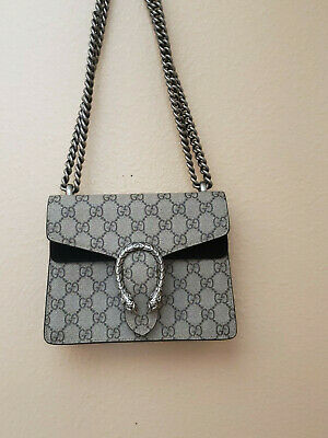 c4ae4813bbca Authentic Gucci Dionysus Mini shoulder bag canvas supreme black suede