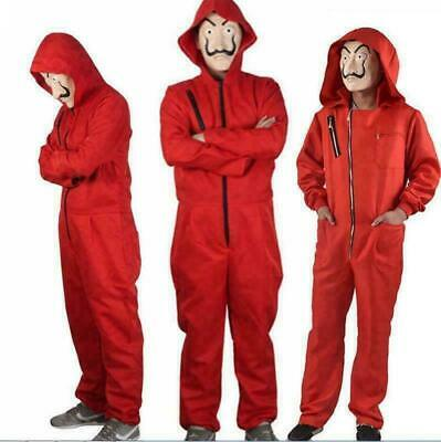 Salvador Dali La Casa De Papel Money Heist Red Jumpsuit Mask Costume Cosplay FR