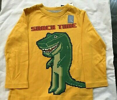 Baby Gap long sleeve yellow tee with dino graphic  size 2 New with Tags