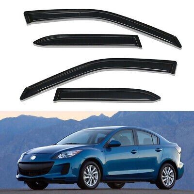 4PC Smoke Window Visor Sun Rain Guards Vent Shade For 2010-2013 Mazda 3 Sedan