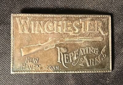vintage Winchester Repeating Arms Brass Belt Buckle - Shotgun - New Haven Conn.