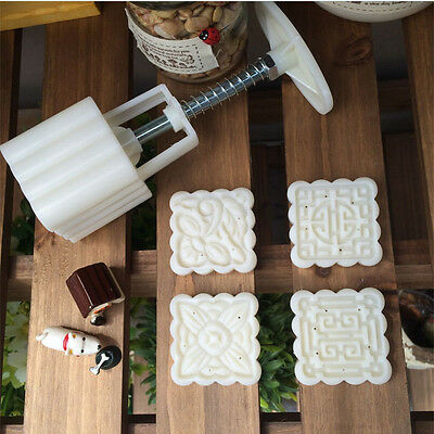 50g Square 4 Stamps Moon Cake Mold Mooncake Decoration Mould Flower Pastry