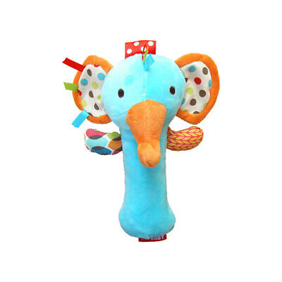 Animal Baby Rattle and Squeaker BB Stick Bell Shaker Grabbing Toy for Infants