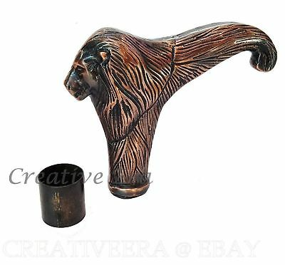 Antique Style Solid Copper Brass Lion Head Handle For Wood Walking Stick Canes