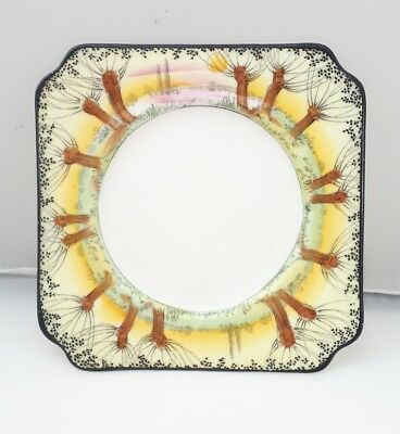 Rare Royal Doulton Art Deco Pollards Willow Trees Yellow Square Side Plate