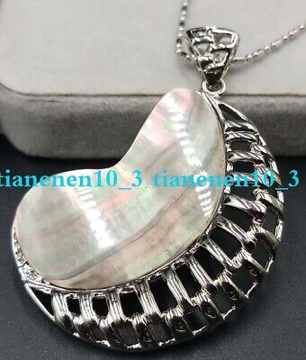 Natural 36x47mm Multicolor Abalone Shell Pendant Necklace 17'' AAA
