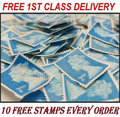 100 x 2ND CLASS UNFRANKED OFF PAPER SECURITY STAMPS NO GUM EXCELLENT +10 FREE!!!