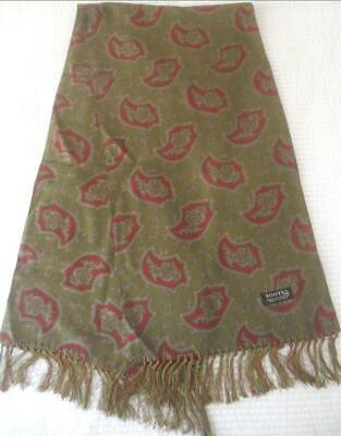 Vintage 1960S Tootal Made England Mens Scarf Olive Green Dark Red Shapes