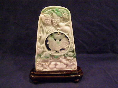 Carved Chinese Jadeite Table Screen With Rooster Pendant