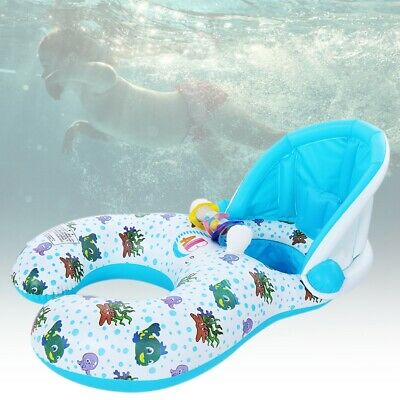 Mother and Baby Float Swimming Inflatable Sit Ring Toys with Removable Canopy