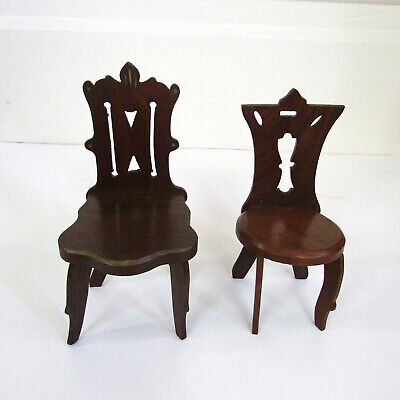 Antique VICTORIAN DOLL CHAIR LOT Miniature Wood Furniture Salesman Sample? 1800s