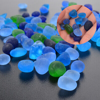 AU 100Pcs Sea Beach Glass Blue Green Mixed Colors Jewelry Pendant Tool 12-18mm