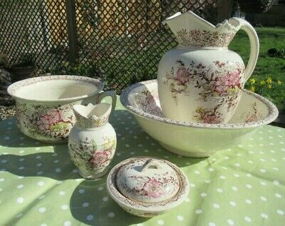 Vintage jug/pitcher bowl set. Pretty cream, pink, brown transferware. Norwich.