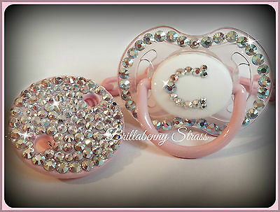 SUCCHIETTO STRASS BLING LUXURY + CATENINA ROSA Pacifier Chupete Sucette + Clip