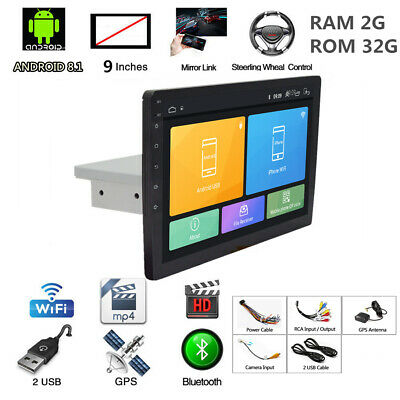 """9"""" Android 8.1 Auto Stereo Radio GPS 1Din Quad Core RAM 2G ROM 32G 3G/4G DVR OBD"""