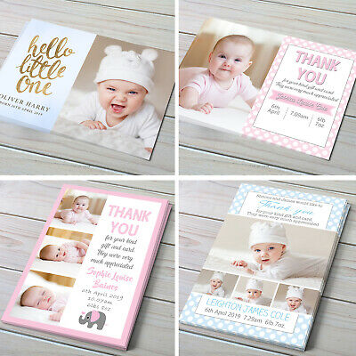 Personalised New Baby Thank You Cards Photo Birth Announcement Girl or Boy 31-40