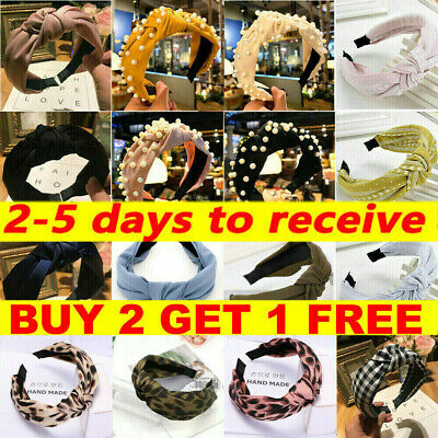 Women's Cute Headband Alice Band Top Knot Twist Plain Headband Pearl Hair Bands